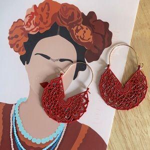 Beautiful red/gold, ornate hoop earrings
